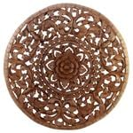 Lotus Panel 3D Inlay Round 90 cm D Brown Stain Wax