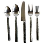 Hammered Triangle Flatware 5 PC Setting x 4 Plac-3