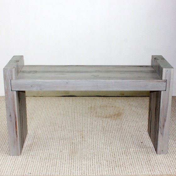 Teak Block Bench 36 x 12.5 x 20.5 in H (Seat = 18) KD Agate Grey