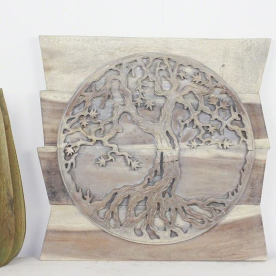 Tree of Life Round on Uneven Boards 24 in x 24 in Agate Grey